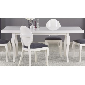 Table à manger extensible  L :  140 cm÷180 cm x P : 80 cm x  H : 75 cm - Blanc