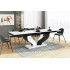 Table à manger évolutive 160 cm ÷ 208 cm  ÷256 cm x 89 cm x 75 cm  - Blanc/Noir