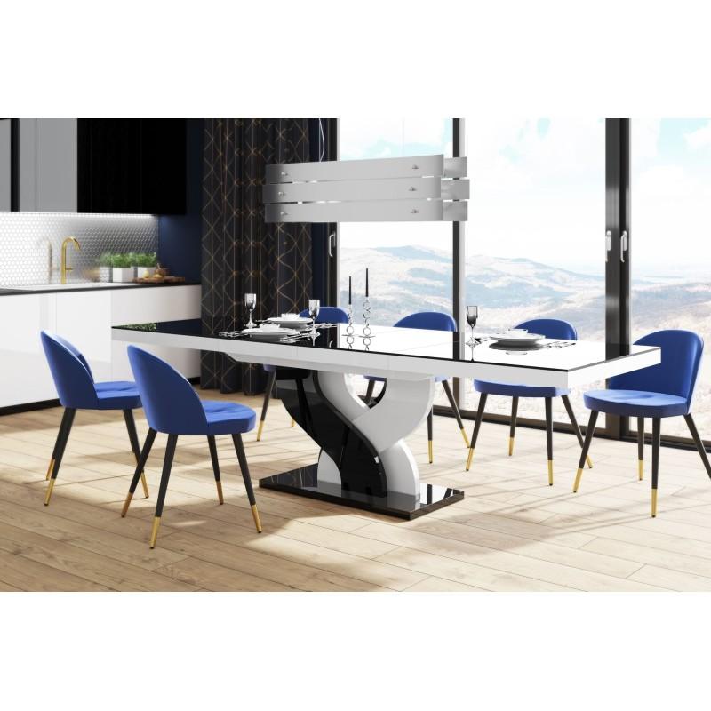 Table à manger évolutive 160 cm ÷ 208 cm  ÷256 cm x 89 cm x 75 cm  - Noir/Blanc