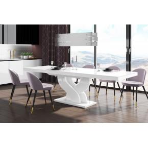 Table à manger évolutive 160 cm ÷ 208 cm  ÷256 cm x 89 cm x 75 cm  - Blanc/Blanc