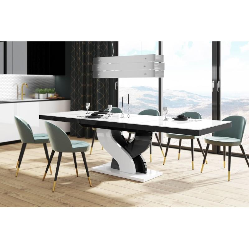 Table à manger évolutive 160 cm ÷ 208 cm  ÷256 cm x 89 cm x 75 cm  - Blanc