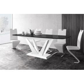Table à manger évolutive 160 cm ÷ 208 cm ÷ 256 cm x 89 cm x 75 cm -  Noir